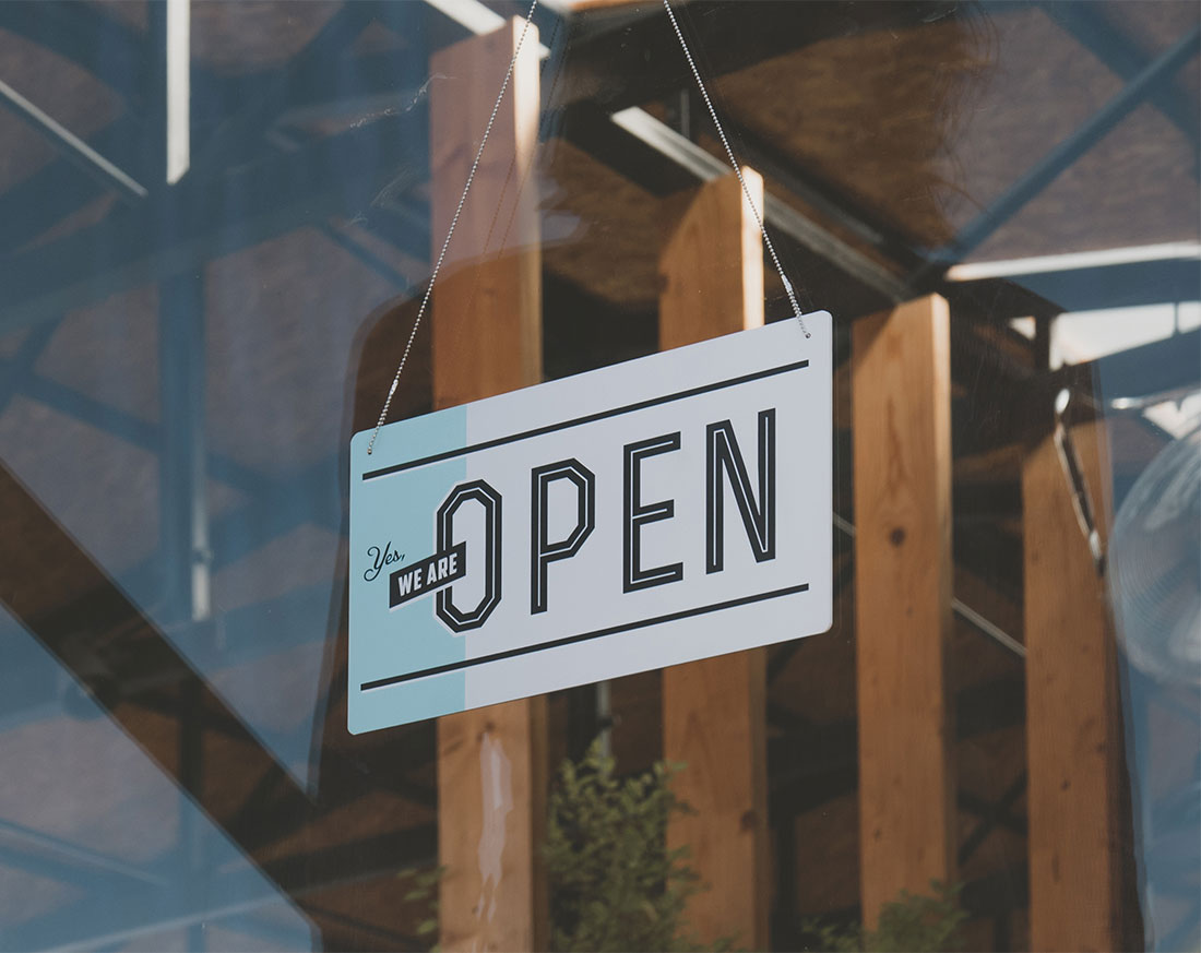 Sign showing that we are Open For Business in Western Massachusetts providing Individual & Business Payroll, Tax & Accounting Services